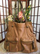 B MAKOWSKY Large Tan Leather Shoulder Bag, Dual Straps, Dual Front Pockets