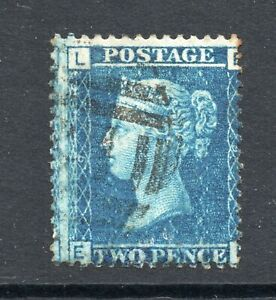 """QV 1858 sg 45 / 2d blue plate 9 state 2 """" E L """" repaired 1866 - scarce stamp"""