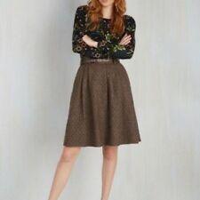 Modcloth Women's Skirt sz XL Brown Polka Dot Wool Mentor of Attention A-line
