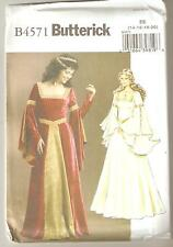 Butterick Sewing Pattern B4571 Miss Medieval Gown Costume Sz 14-20