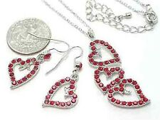 RED AUSTRALIAN CRYSTAL HEART NECKLACE SET