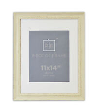 11x14 Photo Frame, Cream Color, Shabby Chic Style, with Ivory Mat for 8x10 Photo