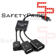 Cable Adaptador Micro USB Host HUB a 2 USB Hembra para Smartphone Tablet Android