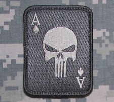 PUNISHER ACE OF SPADES DEATH CARD US ARMY TACTICAL ACU LIGHT HOOK MORALE PATCH