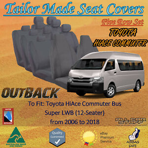 Canvas Seat Covers for Toyota Hiace Commuter Bus (5-Row) 12 Seats: 2006 to 2018