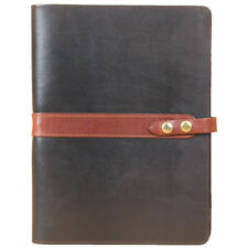 Leather Business Portfolio Notebook Folio Writing Pad Black Brown No. 18 USA