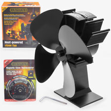 Heat Powered Black 4 Blade Eco Friendly Wood Burning Stove Top Fan, Thermometer