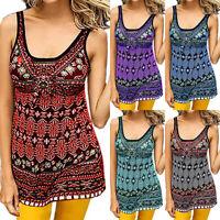 Plus Size Women Boho Sleeveless Vest T-shirt Summer Casual Loose Tank Top Blouse