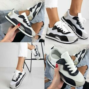 WOMENS SNEAKERS LADIES CHUNKY TRAINERS LACE UP CASUAL COMFY SHOES WOMEN PARTY
