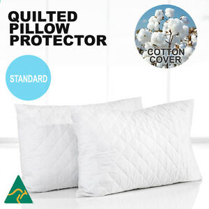 2x Aus Made Luxury Quilted Pillow Protectors Case Slip Cotton Cover Anti-Allergy