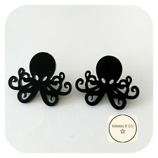 Acrylic Octopus Stud Earrings ⭐🐙black ✨ Handmade ⭐Quirky ⭐ 38mm sealife