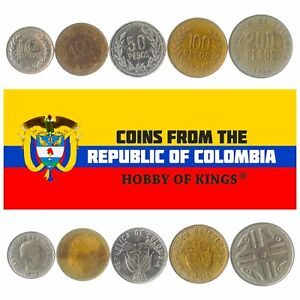 5 COLOMBIAN COINS OLD COLLECTIBLE MONEY FROM SOUTH AMERICA FOREIGN CURRENCY