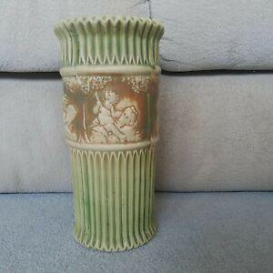 "Beautiful Roseville Pottery Donatello Ivory Cherubs, Ceramic Vase 12""Tall"