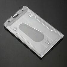 1/2 Pcs Vertical Hard Plastic Office ID Badge Holder Card Double w/ L4I7
