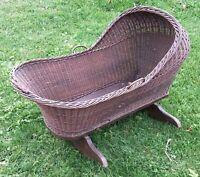 Antique Wicker Baby Cradle 1800's