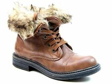 Women's Casual Synthetic Leather Lace Up Mid-Calf Boots