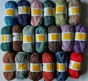 1-7 kg, bunt gemischte Sockenwolle, Strumpfwolle, 100gr Knäule