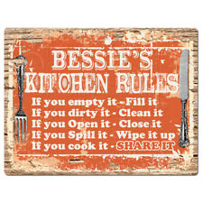 Ppkr0221 Bessie'S Kitchen Rules Plate Chic Sign Home Kitchen Decor Gift ideas