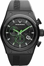 New in Box Emporio Armani AR6106 Stylesport Black Rubber Men's Chronograph Watch