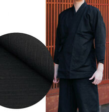 Japanese SAMUE Men's Traditional Work Wear Kimono Tsumugi Set Black from JAPAN