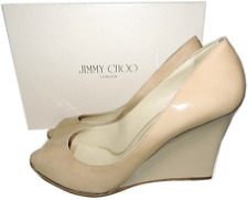 Jimmy Choo Beige Patent Leather Wedge Sandal Espadrilles Shoes 40.5 Pump