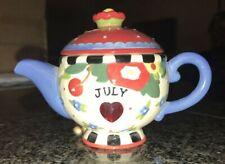 Mary Engelbreit 2005 Mini Teapot July Birthstone (Ruby) - Red Heart ��