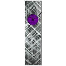 Modern Wall Clock Silver Home Decor Purple Metal Wall Art Abstract Kitchen Clock
