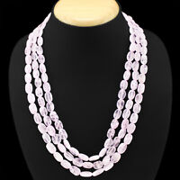 TOP MOST DEMANDED 404.00 CTS NATURAL 3 LINE PINK ROSE QUARTZ OVAL BEADS NECKLACE