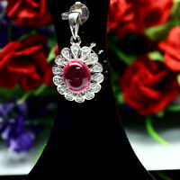 NATURAL 7 X 9 mm. CABOCHON RED RUBY & WHITE CZ PENDANT 925 STERLING SILVER