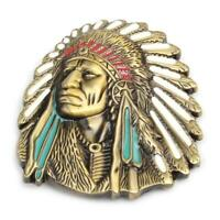 Vintage American Native Indian Chief Feather Western Badge Alloy Belt Buckle New
