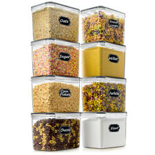 SPACE SAVER Food Storage Airtight Pantry Containers [Set of 8] 3.6L /121oz + ...