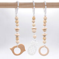 Wood Beads Bird Pram Toy Chew Silicone Pineapple Teether Activity Play Gym Toys