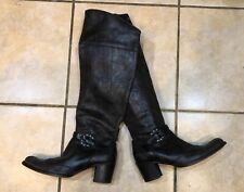 Henry Beguelin Brown Textured Leather Knee High Western Inspired Boots 37