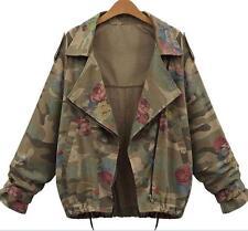 Vintage Camo Women Leisure Jacket Lapel Collar Short Coat Fashion Chic Outdoor
