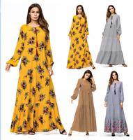 Muslim Women Long Embroidery Maxi Dress Robe Ethnic Vintage Kaftan Cocktail Robe