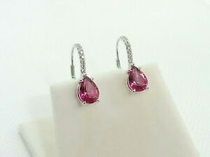 Ladies Hallmarked Hand Made Solid 950 Platinum Pink Topaz and Diamond Earrings