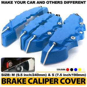 4x Universal Disc Brake Metal Caliper Cover  Sticker Kit  Front & Rear Set Blue