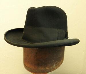 "Original 1950's Vintage Austin Reed Black Fedora Trilby Hat Size 21"" Small (5278"
