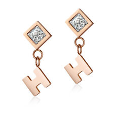 Elegant TT Rose Gold Stainless Steel Dangle Earrings Clear CZ (EW05A) NEW