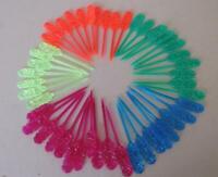 Lot 48 Vintage Bar Tiki Flower Plastic Cocktail Swizzle Appetizer Sticks 5 Color