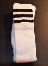 Men Sport Long Socks Soccer Futsal White with Black Stripes size 9-11 310-J