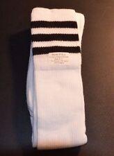 Men Sport Long Socks Soccer Futsal White with Black Stripes size 9-11 310-J