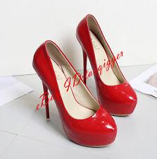 Patent Leather Womens 16cm Super High Heels Party Shoes Big Size Platform Shoes