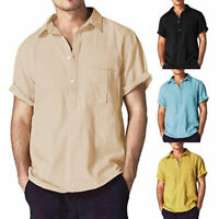 Men's Linen Short Sleeve Shirt Summer Cool Loose Casual V-Neck Shirts Tops M-3XL
