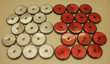 30 x Red & White Round 60mm Reflectors for Driveway Gate Fence Posts & Trailers