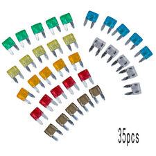 35Pcs Car Mini Low Profile Fuse Box 5 7.5 10 15 20 25 30 Amp Fuses Kit Accessory