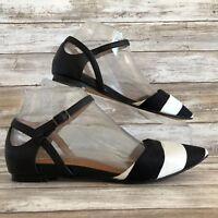Halogen 6M D'Orsay Mary Jane Sandal Black White Leather Stripe Pointy Toe Wedge