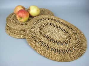 Vintage set of 5 large natural grass woven Table Mats / Placemats. Oval.