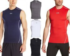 Under Armour Men NEW HeatGear Sleeveless UPF 30+ Compression Tee Tank Top Shirt