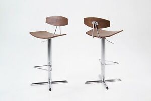Pair of Blaise Barstools Quality Bonded Leather Bar stool With Chrome Base